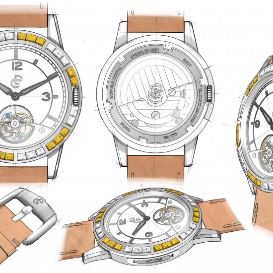 Pierre Gaston Concept Tourbillon Watch with Diamonds and Yellow Diamonds