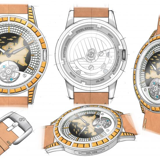 Pierre Gaston Concept Tourbillon Watch with Enamel Map of Europe with Yellow Diamonds