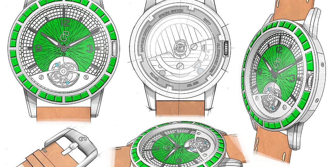 Pierre Gaston Concept Tourbillon Watch with Diamonds and Emeralds