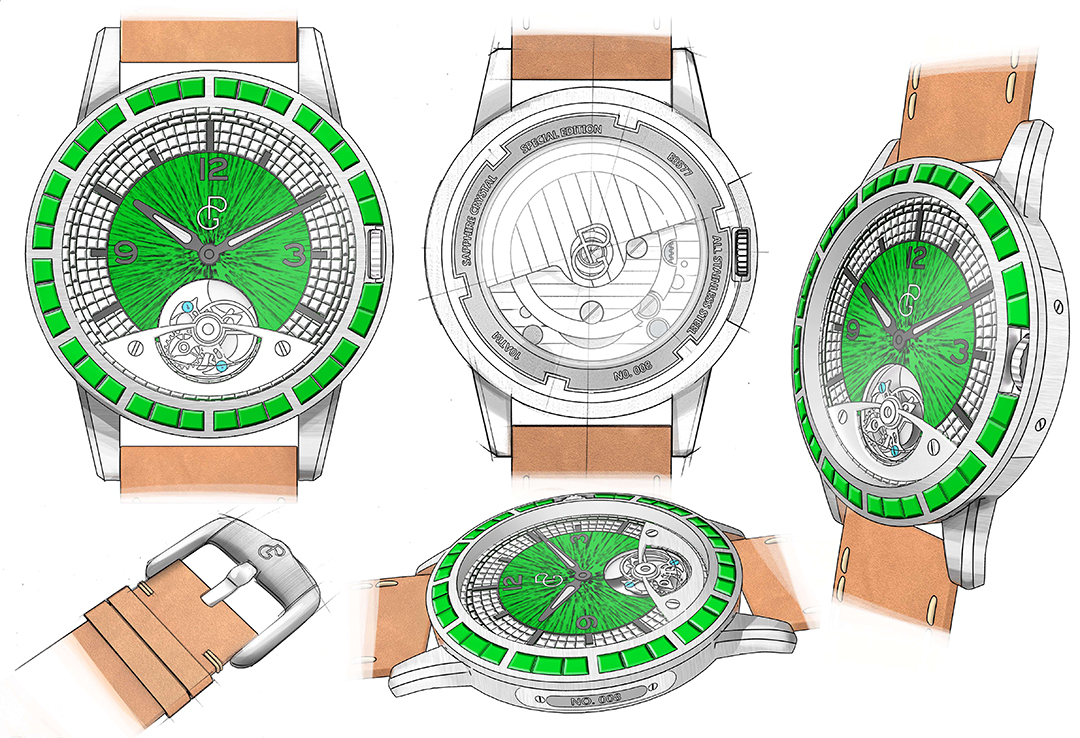 Pierre Gaston Concept Tourbillon Watch with Diamonds and Emeralds