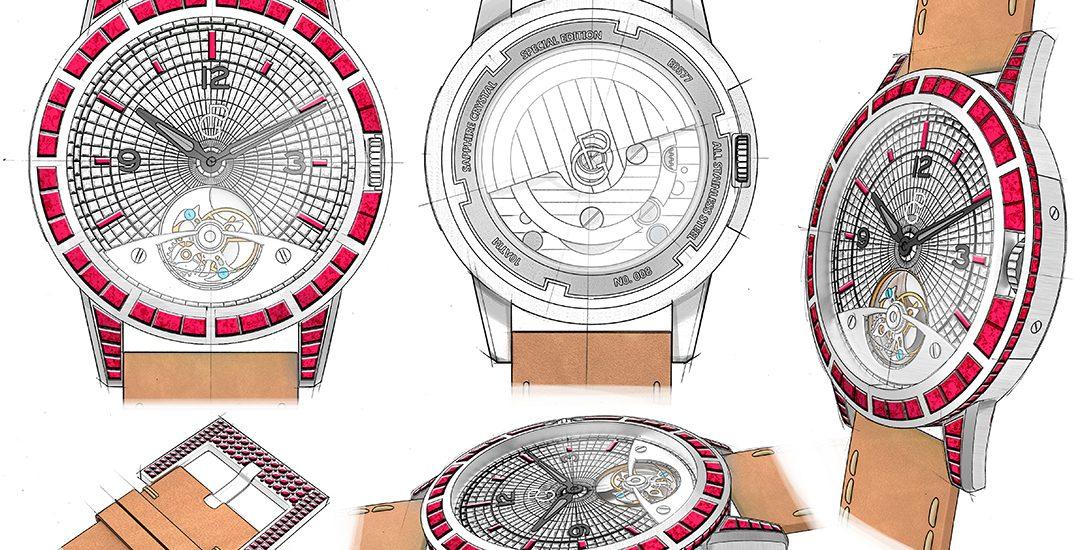 Pierre Gaston Concept Tourbillon Watch with Diamonds and Rubies #PGT.91