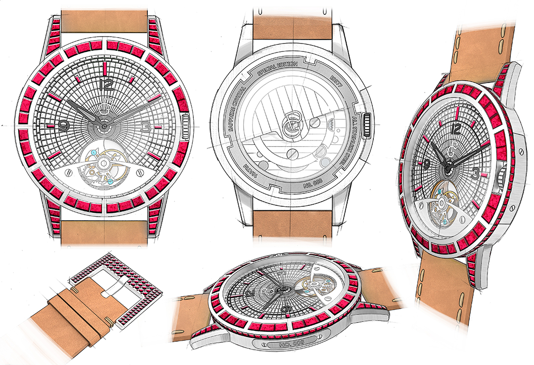 Pierre Gaston Concept Tourbillon Watch with Diamonds and Rubies #PGT.91