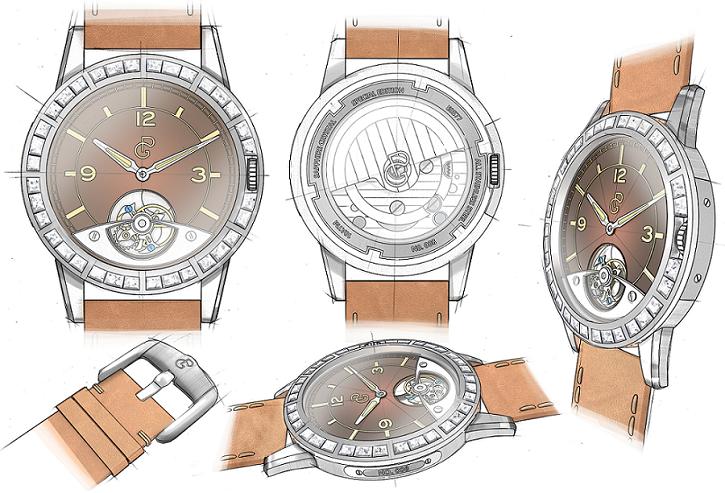 Pierre Gaston Concept Tourbillon Watch with Diamonds