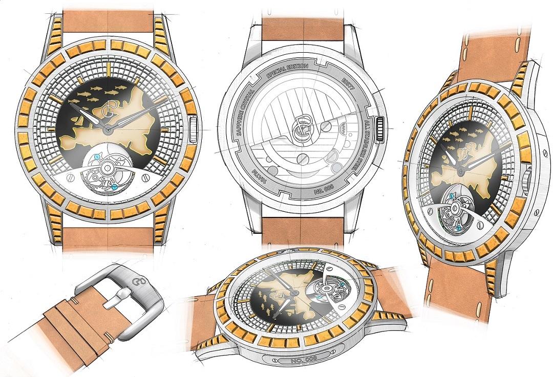 Pierre Gaston Concept Tourbillon Watch with Enamel Europe Map and Yellow Diamonds